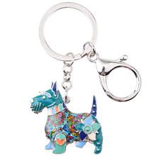Брелок для ключей Bonsny, эмалированный металлический шотландский терьер, брелок для ключей для женщин, сумка для девушек, подвеска, брелок для...(Китай)