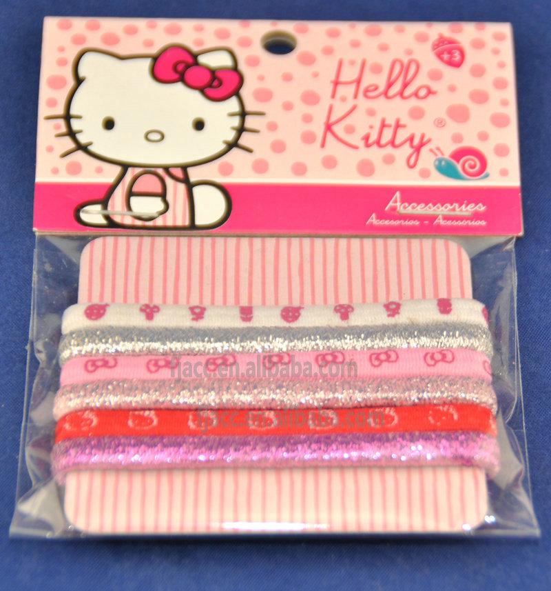 Модные аксессуары для волос для маленьких девочек, эластичная повязка для волос с принтом Hello Kitty, пони-хвост