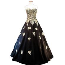 6d7922d7541 Black Wedding Dress 2018 Gold Lace Applique Luxury Bride Dresses Plus Size Wedding  Gowns Floor Length