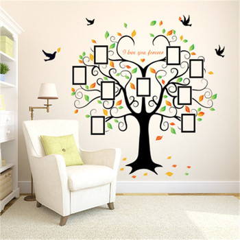 Large 240cm/ 80inch Family Tree Photo Frame Removable Wall Sticker Love Tree Love You Forever Bird Butterfly Decal