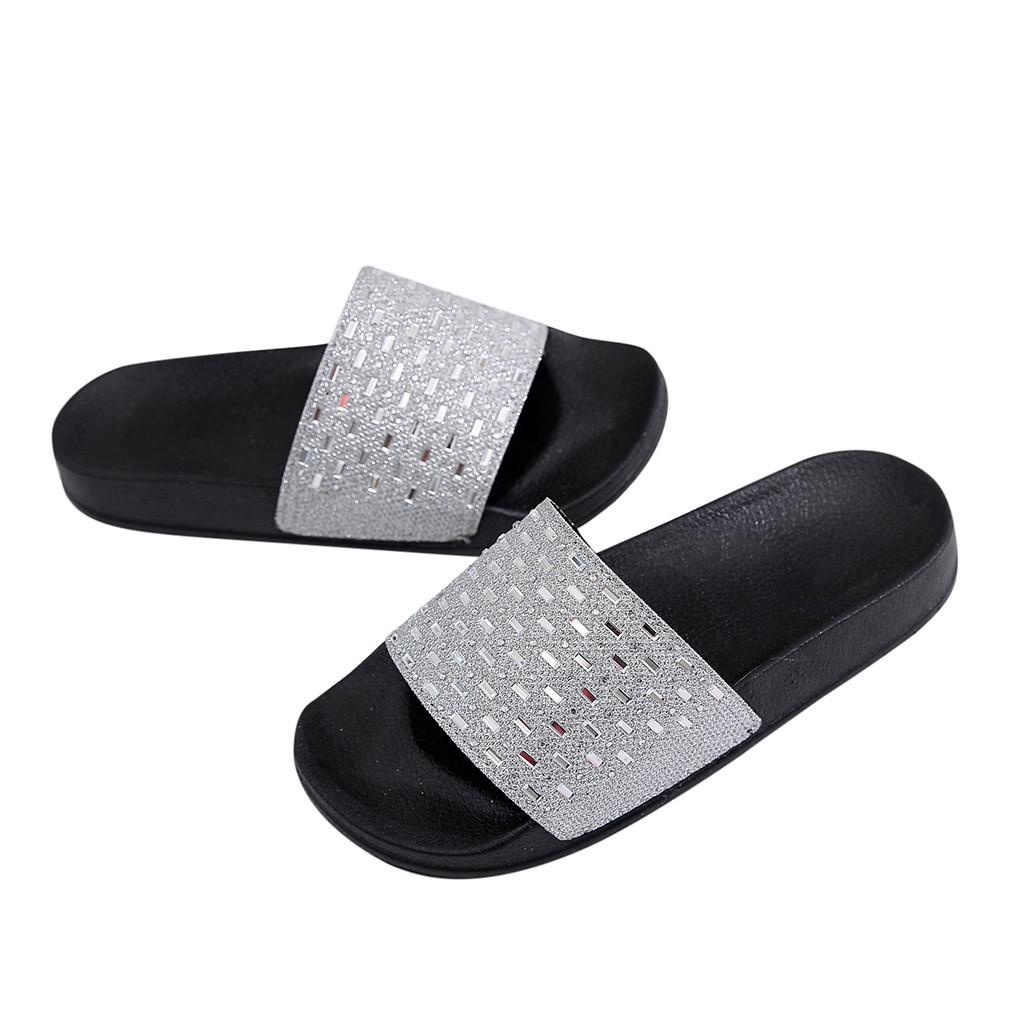 822649533dddd 2019 Women'S Slippers Summer Beach Casual Shoes Sequins Flat Heel ...