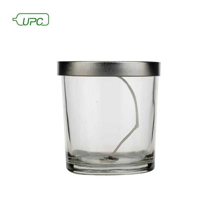 Заказной дизайн размер Круглый прозрачный стеклянный подсвечник банка с производителем