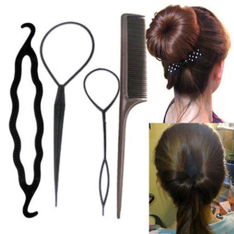 33ae79f5 79 piezas de accesorios para el cabello de mezcla para mujeres chicas  estilizando herramientas de trenzado esponja Donut Horquillas para el  cabello ...