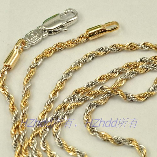 19 7 Quot Inch 50cm 2mm 7g Real 18k Yellow White Gold Plated