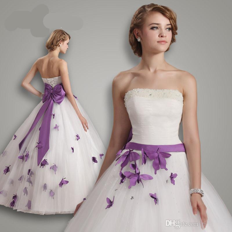 2016 Princess Wedding Dresses Purple And White Butterfly