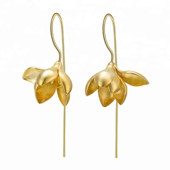Flower Silver Dangle latest gold earring designs