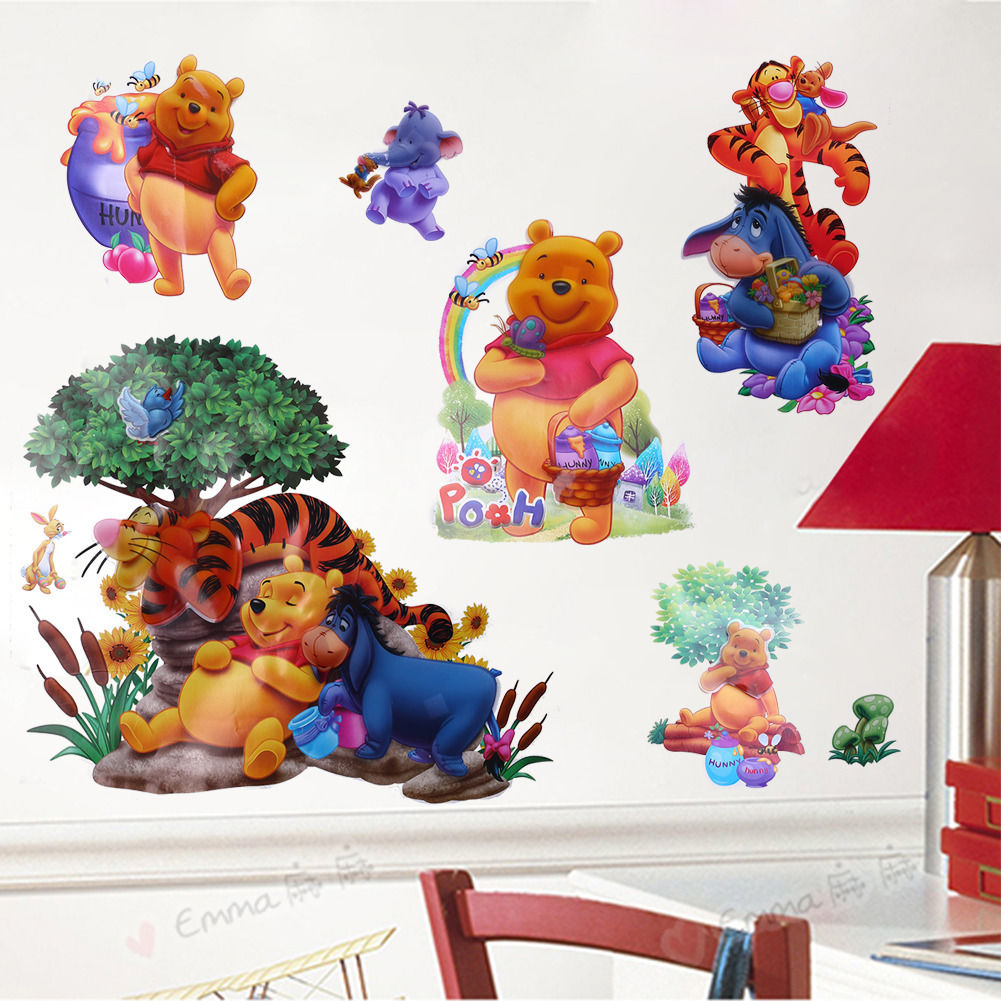 cartoon winnie the pooh tiger art wall stickers decals baby nursery home. Black Bedroom Furniture Sets. Home Design Ideas