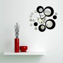 Free Shipping Modern Circles Acrylic Mirror Style Wall Clock sticker Removable Decal Art Sticker Decoration