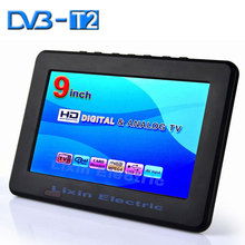2015 New 9 inch DVB-T2/DVB-T digital and analog mini led HD portable TV all in 1 Support USB record TV program Battery 1800mAh