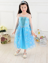 girls elsa dress fancy dress for girls snow white frock designs long sleeve children's clothing for girls la reine des neiges