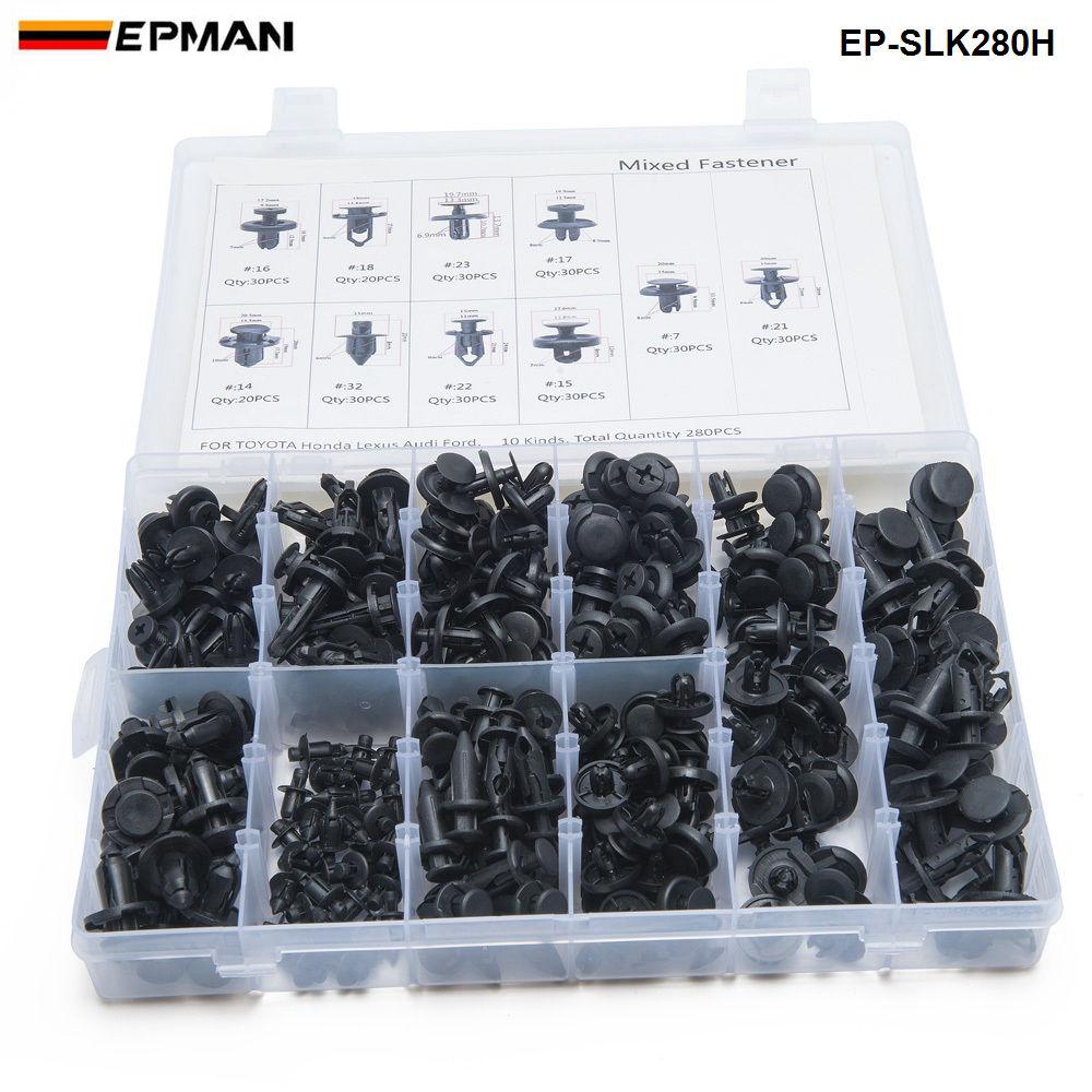 280pcs/BOX Black Plastic Mixed Auto Fastener Vehicle Car Bumper Clips Retainer Rivet Door Panel Fender Liner EP-SLK280H