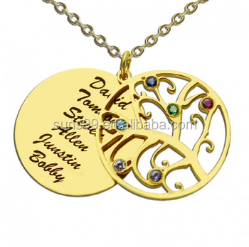 Name Necklace Machine For Making Personalized Jewelry Wholesale Family Tree With Engraved Names Necklace