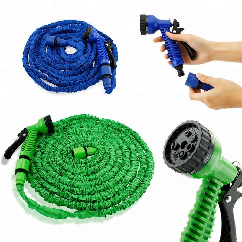 Latex 25 50 75 100 FT Expanding Flexible Garden Water Hose with Spray Nozzle US~