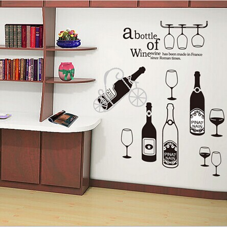 free shipping JM7211 new design Vinyl Wall Stickers French Wine Home decoration Wall decals 70*140cm