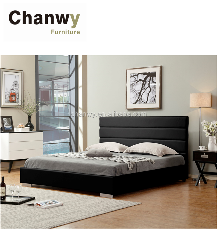 black or white colour genuine leather modern bed designs 2018