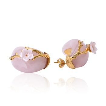 Wholesale Vintage 925 Silver Natural Rose Quartz Plum Flower Stud Earring For Women Gift New Year