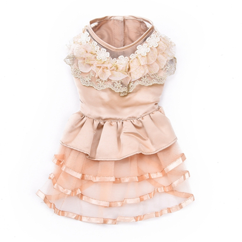 Бесплатная доставка собаки свадебное платье кружева отбортовывать сладкий дизайн для щенок юбка в свадьбе ну вечеринку лето / весна 4 размеры
