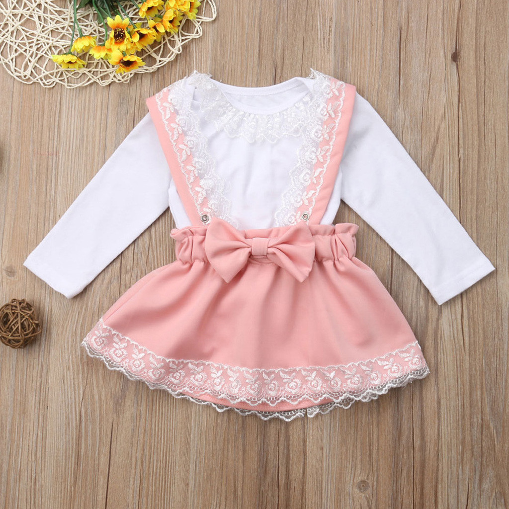 Detail Feedback Questions about Girl children lace hardy + strap bow skirt  Set white lace long sleeve top comfortable round collar Baby Girl Clothing   YL1 ... c5a43710fef0
