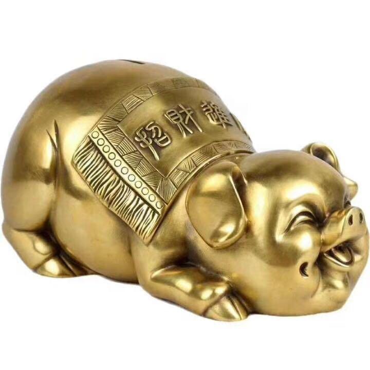 Горячая Распродажа Бронзовая статуя Копилка настольное художественное украшение свинья скульптура домашний декор