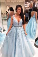 Шикарное красивое платье для выпускного вечера, длинное ТРАПЕЦИЕВИДНОЕ ПЛАТЬЕ С v-образным вырезом, аппликация для выпускного платья, выпус...(Китай)