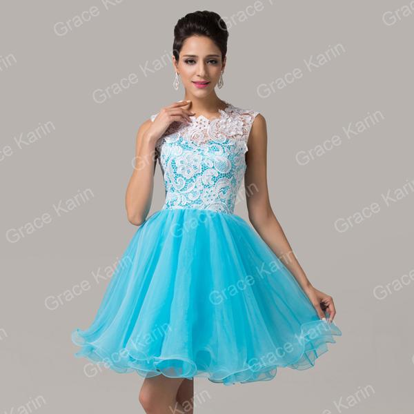 Short black lace formal dresses