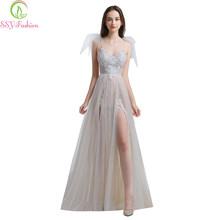 Женское вечернее платье без рукавов SSYFashion, кружевное платье с v-образным вырезом и открытой спиной, в наличии(Китай)