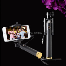 Free Ship Extendable Monopod Handheld Selfie Stick 2015 New Mini Extendable Handheld Mirror Self-portrait Stick For Cell Phone