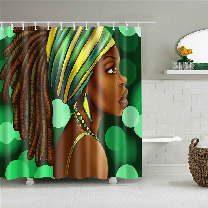 African Women And Lion Printed Waterproof Bathroom Shower Curtain