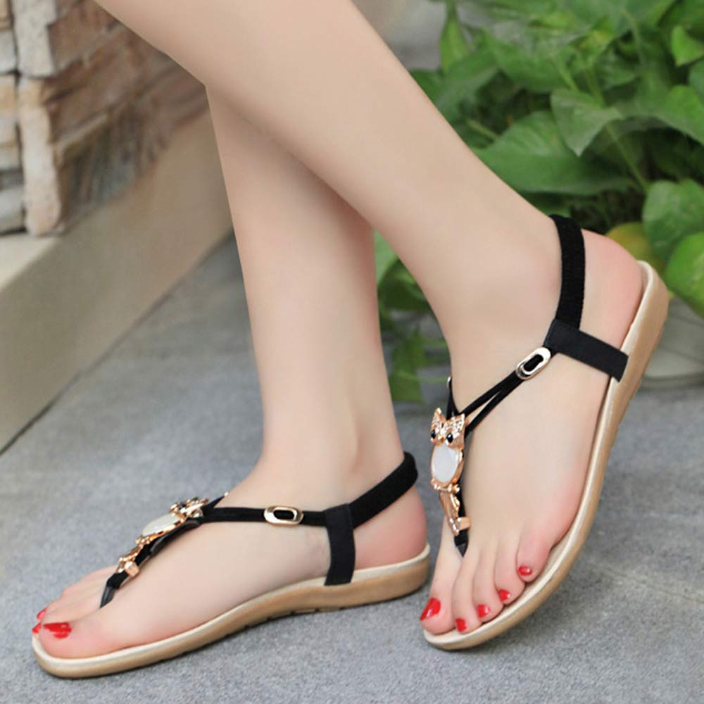 4ac8994908207 Best Sale Shoes Woman Bling Bling Rhinestone Owl Sweet Sandals Clip ...