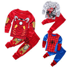 New Spider man Iron man Pajamas Kids Sleepwear Baby Boys Nightwear Pyjamas sets