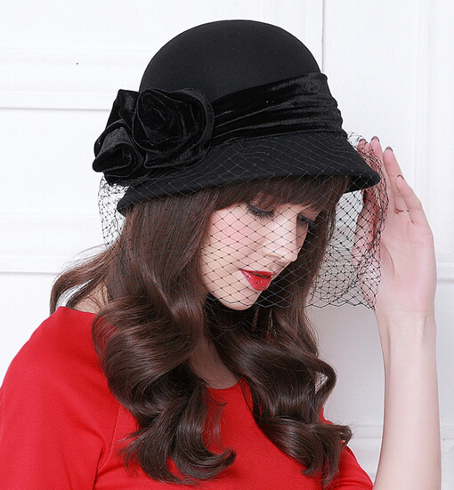4fa50643360aa Womens Dress Fascinator Wool Felt Hat Party Wedding Bow Veil 3color hat  wholesale