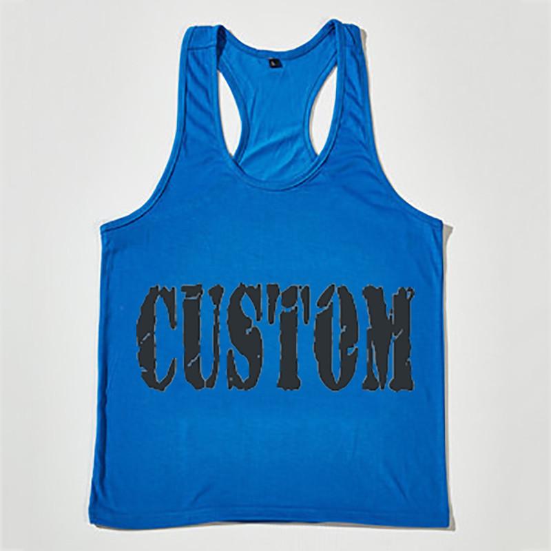 Создай свой собственный полотняного плетения из чистого хлопка Бодибилдинг на заказ фитнес Стрингер Спортивная майка для мужчин