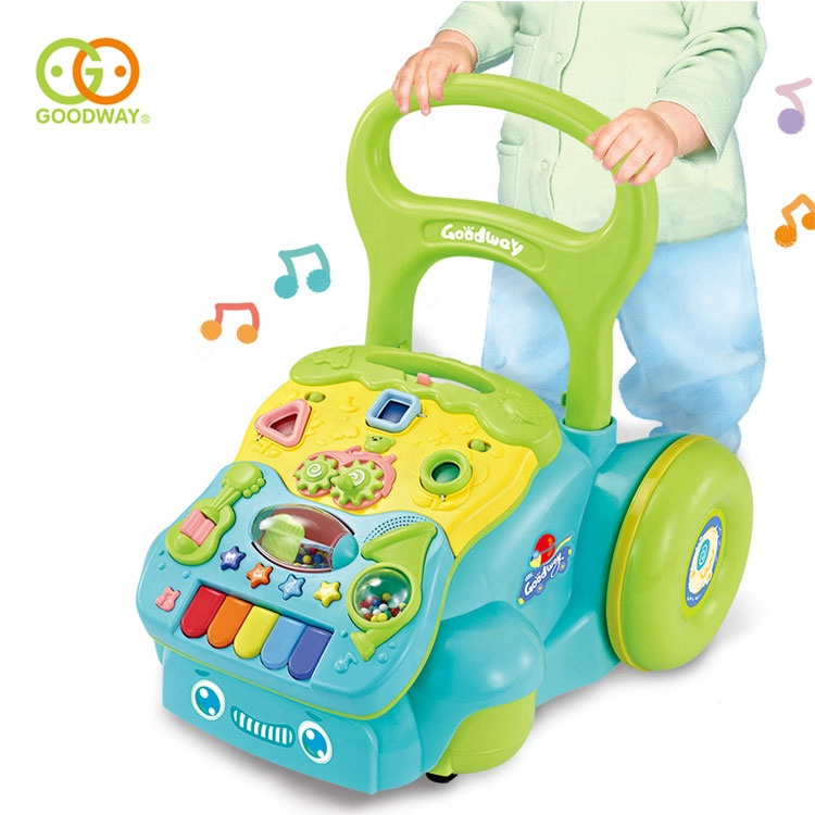 early learning plastic trolley toy push baby walker with music