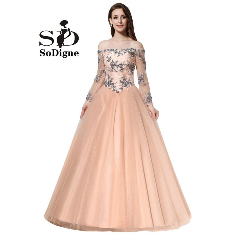 Wholesale 2016 New Bride Evening Dress Vintage Shoulder: Prom Dress 2016 SoDigne Vintage Tulle Peach Color Evening