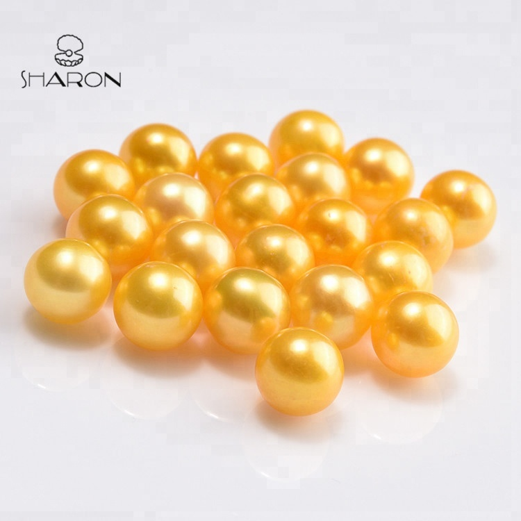 10 Pcs 6-7mm Yellow AAAA Pearl Beads,Nature pearl beads,Colorful Round Pearls With No Hole,For Cage Pendants,Bulk Wholesale High QualityC#24