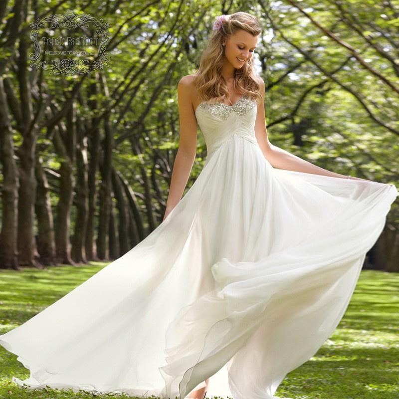 Sweetheart Off Shoulder Beading Neck Long Chiffon Wedding