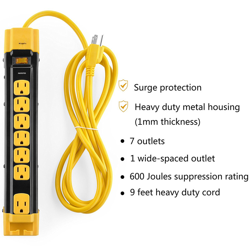 7 Outlet Heavy Duty Metal Surge Protector Power Strip with Cord Management