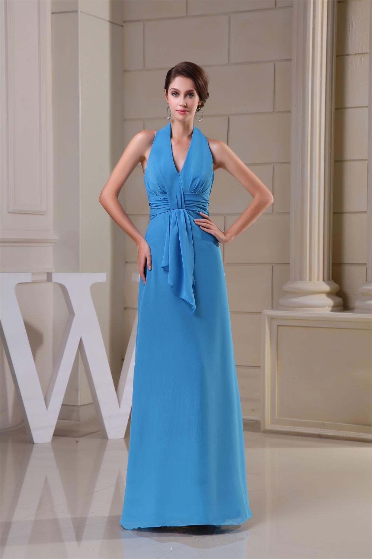 2016 New Arrive Baby Blue Chiffon Bridesmaid Dresses Floor ...