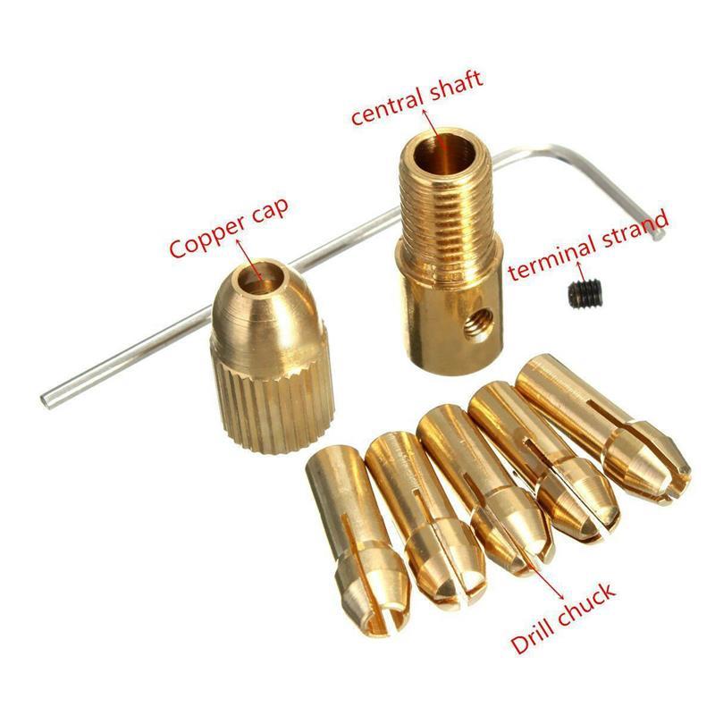 8PCS 0.5-3mm Small Hand Electric Drill Collet Set Micro Twist Chuck Tool Set