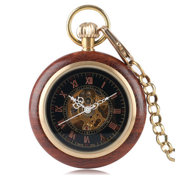 Hand Winding Men Wood Around Classic Vintage Men Skeleton Fob Mechanical Pocket Watch