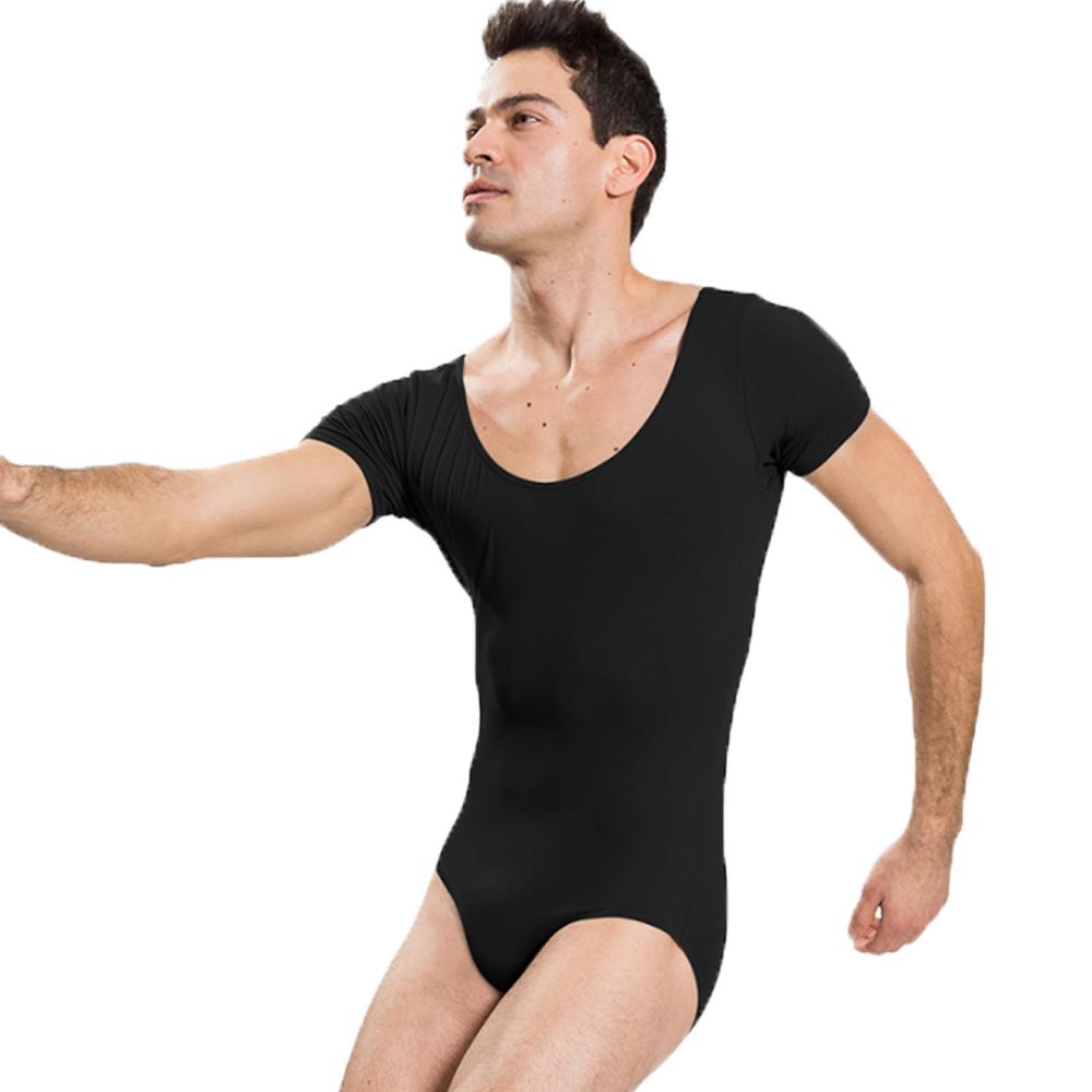 d3d7810c6488 2019 Speerise Mens Short Sleeve Black Leotard For Gymnastics Adults ...