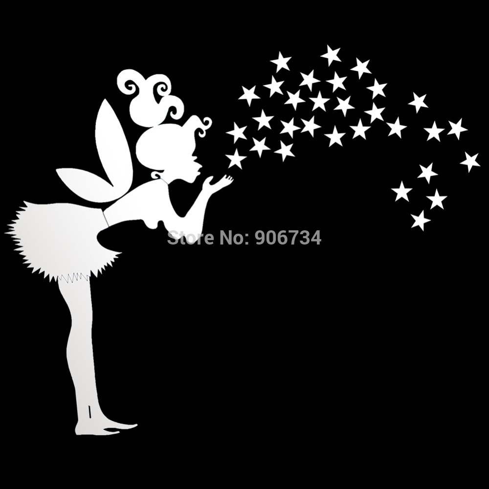 Home Decor,Kids Bedroom Decoration 3D Mirror Stickers,35 Stars DIY Fairy With Stars PS Wall Stickers New Free Shipping