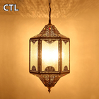 Middle east copper hollow small pendant lamps home decor bubble glass decorated carved pendant lights for dubai
