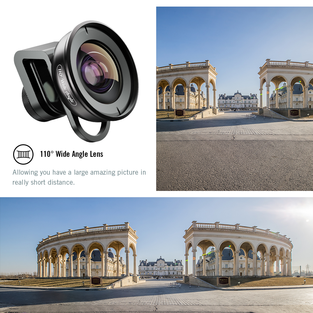 Apexel Professional 4K mobile phone lens with Telephoto Fisheye Super Wide Angle Macro cell 6 in 1 lens kit for iPhone XS Max
