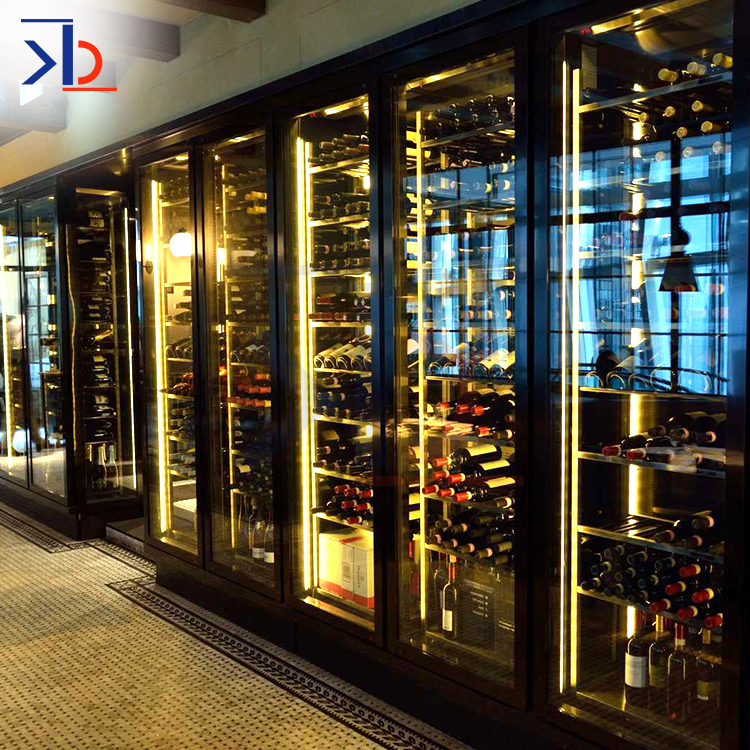 Whiskey SUS Wall Gradevin Wine Cabinet Furniture Modern Customized 304 316 Stainless Steel Wine Cabinet Design
