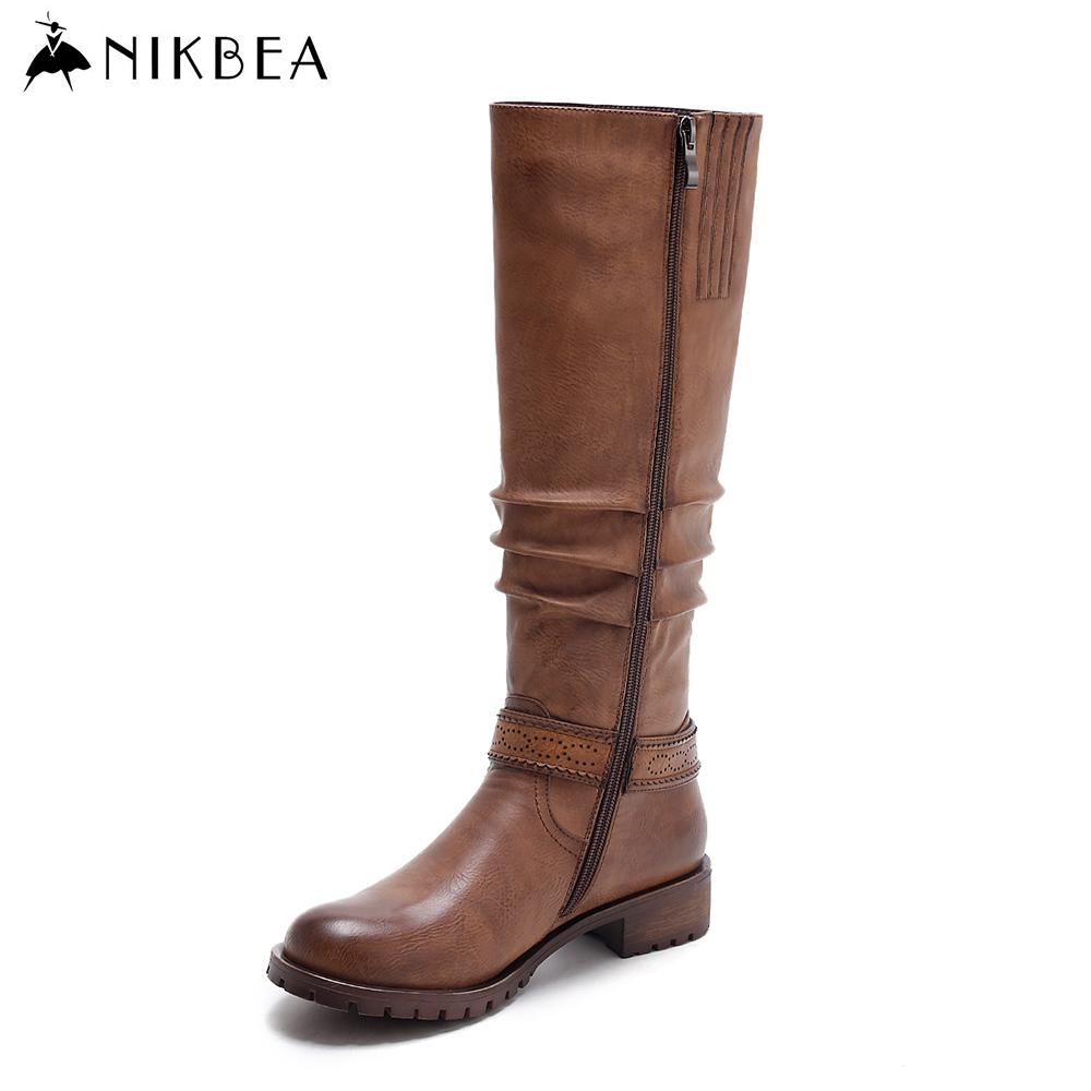 Aliexpress.com : Buy Nikbea Ladies Brown Pu Leather Knee