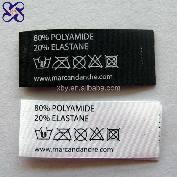 Wool Coat Printed Labels Polyester Satin Garment Care