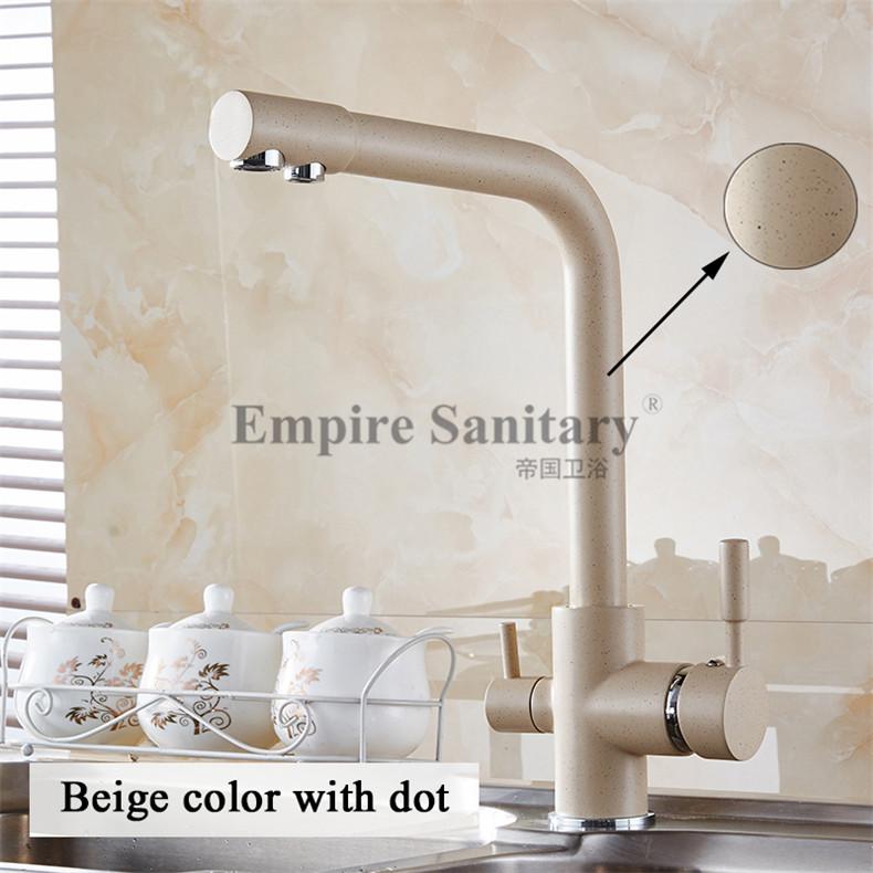 Смесители для кухни античный 3-полосный фильтр для воды краны с двойной ручкой хромированный латунный кран Высокая АРКА Поворотный очистит...(Китай)