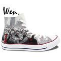 Wen Grey Hand Painted Shoes Design Custom Walking Dead Boys Girls Gifts High Top Men Women