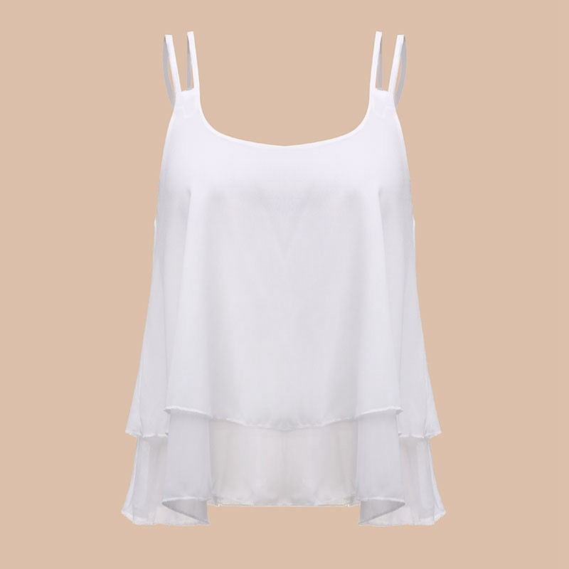 db5c95b55bf Summer New Women Strap Tank Tops Sleeveless White Chiffon Casual T-shirt  Vest Crop Tops Camis S M L XL 2XL 3XL 4XL - fashionlaunch.net